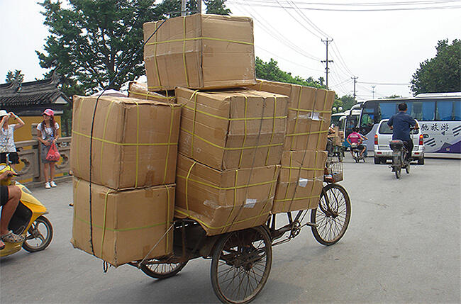 Overstocked Delivery Bicycle