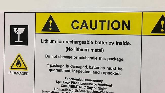 Lithium Battery Warning Label