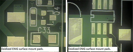 PCB with ENIG surface finish that has been heavily oxidized
