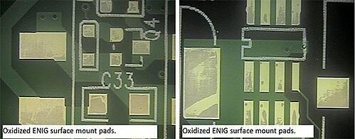 Heavily Oxidized PCB with ENIG Surface Finish
