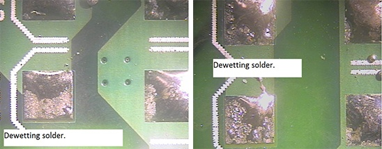 Results of solder testing and the dewetting on PCB