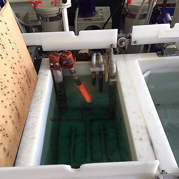 Printed Circuit Board During Micro-Etching Process.