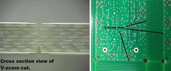 Cross Sectional View of a V-Score Cut and Broad PCB View.