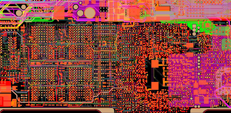 A 2-layer circuit board showing signal layers.