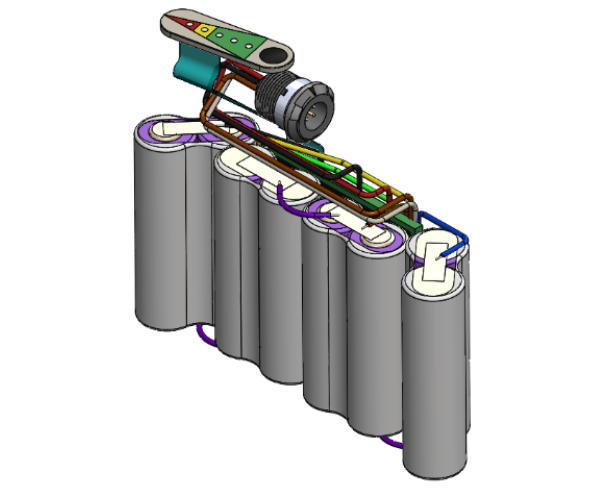 Example of battery pack internal electronics and cells
