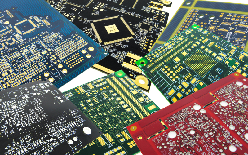 Example of printed circuit boards with various solder mask colors.