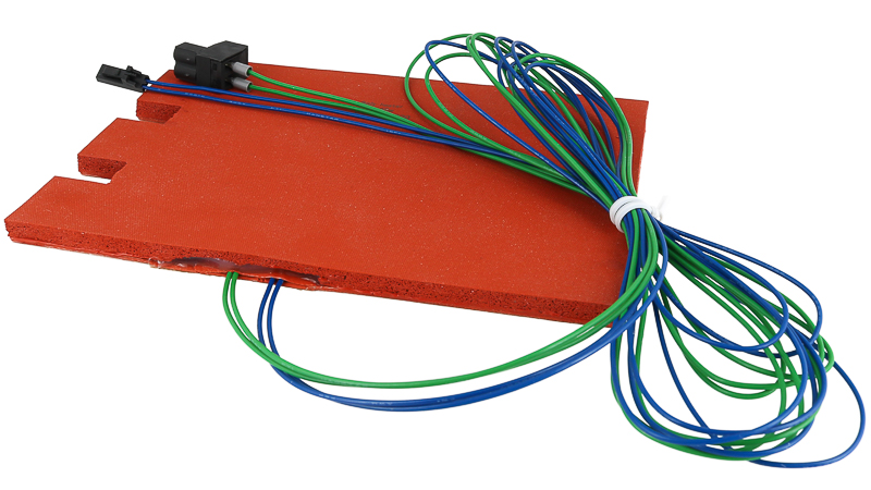 Example of a silicone flexible heater with multiple input lines.
