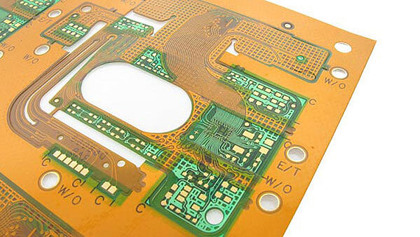 Flexible circuit board example with coverlay and soldermask