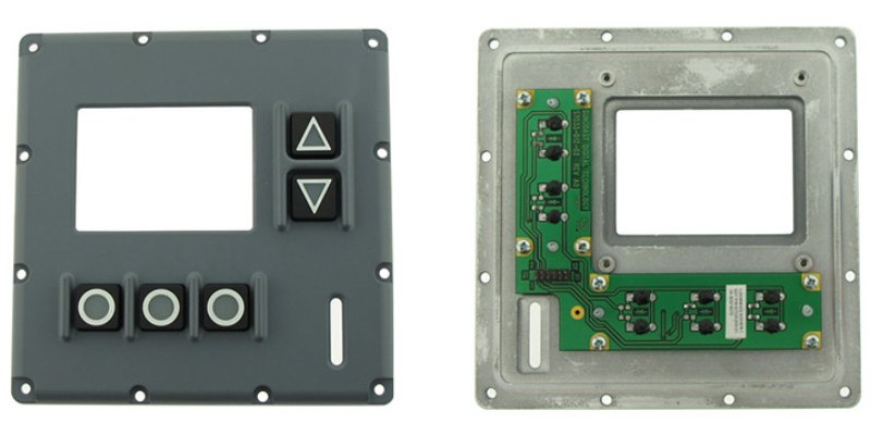 Front and rear view of ruggedized keypad PCBA assembly