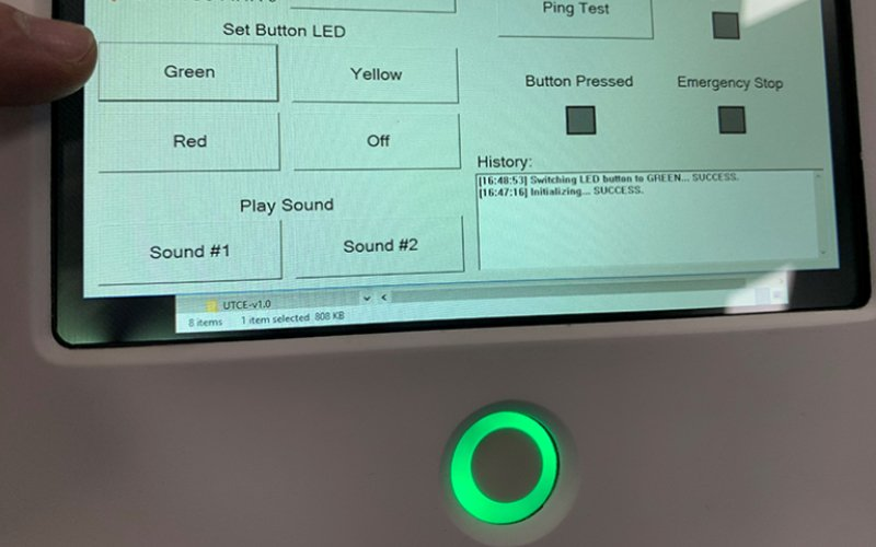 HMI test procedure to indicate green LED button is working.