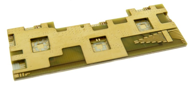 Example of a complex RF hybrid PCB designed with cavities.