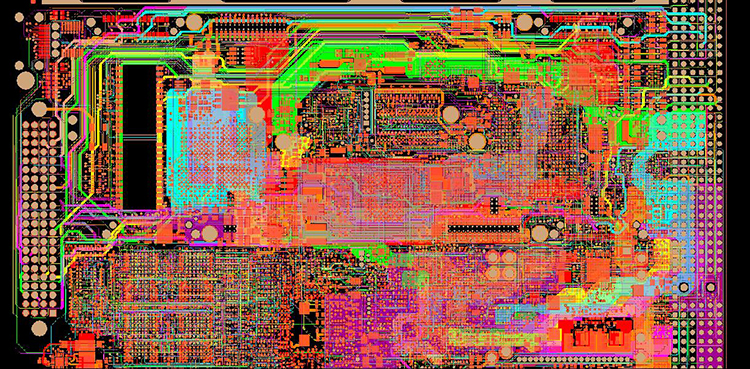 A multi-layer circuit board showing signal layers.