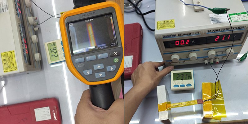 Test temperature: 140-150 degrees Celsius. Test voltage: 21.1V. After testing 2.5 hours, good appearance, no blackening.