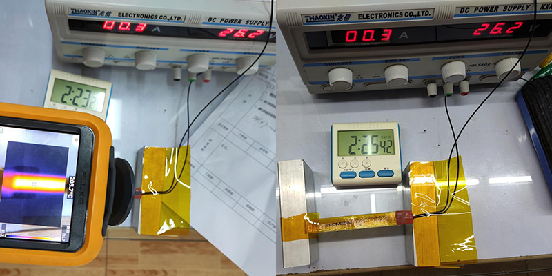 Increase the test temperature to 200-210 degrees Celsius. Test voltage: 26.2V. After testing 2 hours, the appearance of the product starts to turn yellow and there is no blackening phenomenon.