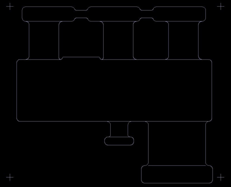 Example of a rigid-flex circuit board outline