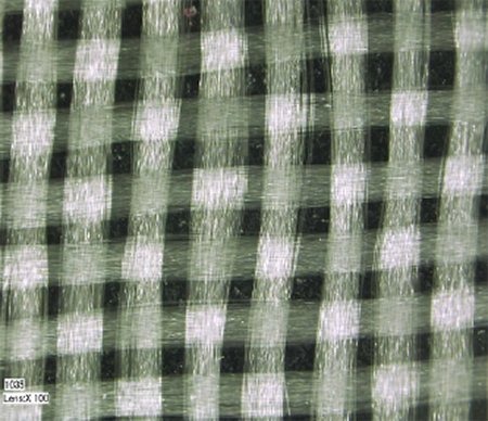 Example of woven glass yarn fibers.