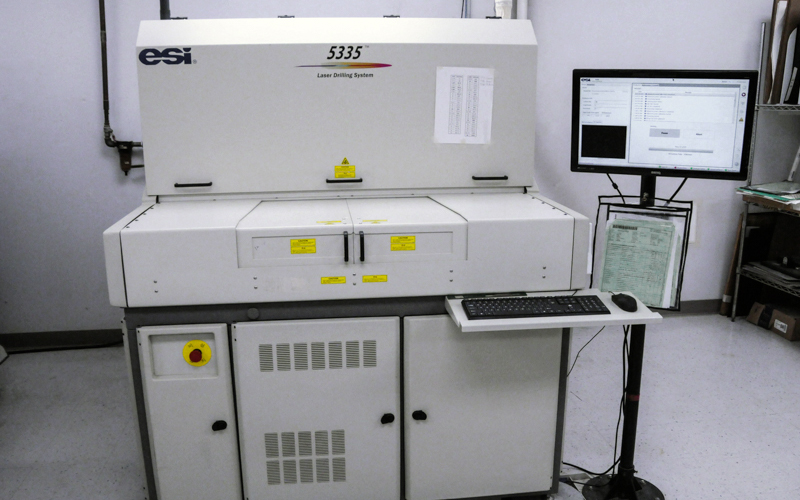 Example of laser drilling machine used in PCB manufacturing.