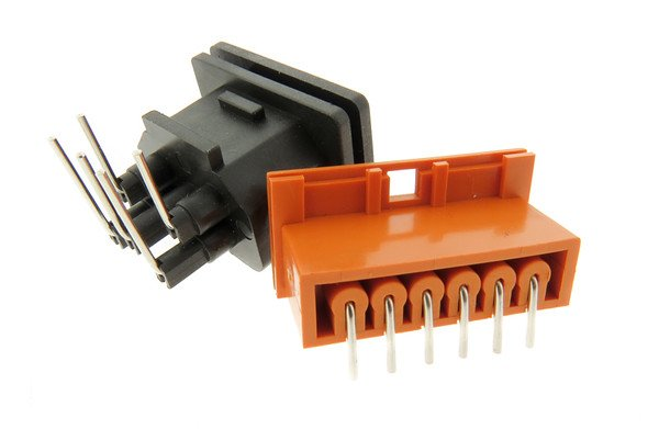 Example of PCB mounted connectors with pins shown