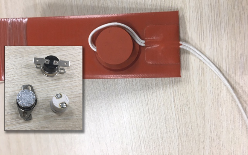 Silicone flexible heater with embedded thermostat