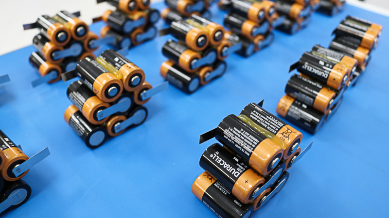 Custom battery packs during the assembly process.